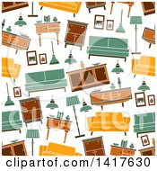 Clipart Of A Seamless Background Pattern Of Furniture Royalty Free Vector Illustration by Vector Tradition SM