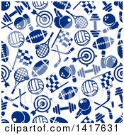 Poster, Art Print Of Seamless Background Pattern Of Blue Sports Icons