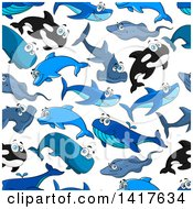 Clipart Of A Seamless Background Pattern Of Sharks And Whales Royalty Free Vector Illustration