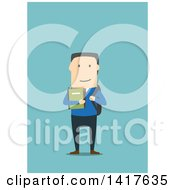 Flat Design Male College Student On Blue