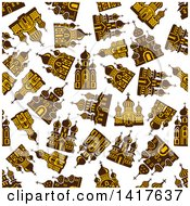 Clipart Of A Seamless Background Pattern Of Churches Royalty Free Vector Illustration