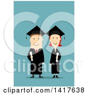 Clipart Of A Flat Design Happy Graduate Couple Royalty Free Vector Illustration by Vector Tradition SM