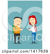 Clipart Of A Flat Design College Couple Texting Each Other On Blue Royalty Free Vector Illustration by Vector Tradition SM