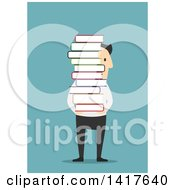 Clipart Of A Flat Design Caucasian Business Man Carrying A Stack Of Books On Blue Royalty Free Vector Illustration by Vector Tradition SM