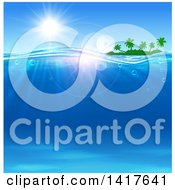 Clipart Of A Silhouetted Tropical Island Under A Sunny Sky With Blue Ocean Water Royalty Free Vector Illustration by Vector Tradition SM