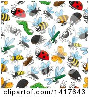 Clipart Of A Seamless Background Pattern Of Bugs Royalty Free Vector Illustration by Vector Tradition SM