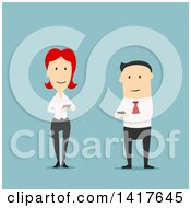Clipart Of A Flat Design Caucasian Business Man And Woman Using Smart Phones On Blue Royalty Free Vector Illustration by Vector Tradition SM