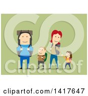 Clipart Of A Flat Design Happy Family Hiking On Green Royalty Free Vector Illustration by Vector Tradition SM