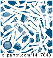 Clipart Of A Seamless Background Pattern Of Blue Kitchen Accessories Royalty Free Vector Illustration