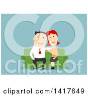Clipart Of A Flat Design Happy Couple On A Couch Over Blue Royalty Free Vector Illustration by Vector Tradition SM