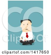 Clipart Of A Flat Design Caucasian Business Man Sitting On The Floor And Writing On Blue Royalty Free Vector Illustration by Vector Tradition SM