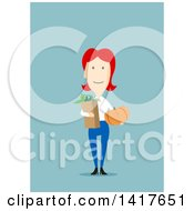 Clipart Of A Flat Design Woman Holding Groceries On Blue Royalty Free Vector Illustration by Vector Tradition SM
