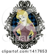 Clipart Of A Halloween Zombie Sleeping Beauty Princess In An Ornate Frame Royalty Free Vector Illustration