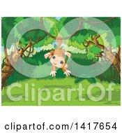 Clipart Of A Cute Monkey Hanging From A Vine In A Jungle Royalty Free Vector Illustration by Pushkin