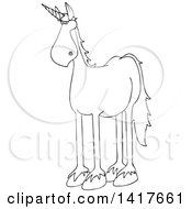 Clipart Of A Cartoon Black And White Lineart Unicorn Royalty Free Vector Illustration by djart