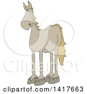 Clipart Of A Cartoon Beige Horse Royalty Free Vector Illustration