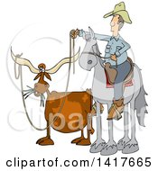 Cartoon Male Rancher Cowboy On A Horse Roping A Texas Longhorn