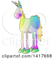 Clipart Of A Cartoon Gradient Colorful Unicorn Royalty Free Vector Illustration