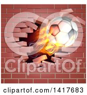 3d Flying Flaming Soccer Ball Breaking Through A Brick Wall