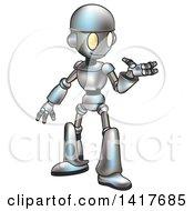 Clipart Of A Cartoon Robot Presenting Royalty Free Vector Illustration