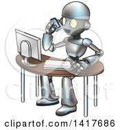 Clipart Of A Cartoon Robot Talking On A Cell Phone And Working At A Computer Desk Royalty Free Vector Illustration by AtStockIllustration