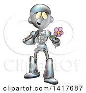 Clipart Of A Cartoon Romantic Robot Giving A Flower Royalty Free Vector Illustration by AtStockIllustration