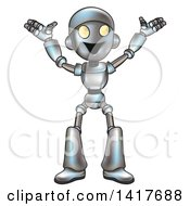 Clipart Of A Cartoon Happy Robot Cheering Royalty Free Vector Illustration