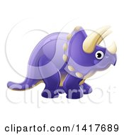 Clipart Of A Cute Purple Triceratops Dinosaur Royalty Free Vector Illustration