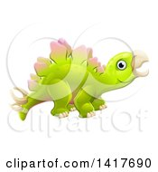 Clipart Of A Cute Green Stegosaurus Dinosaur Royalty Free Vector Illustration