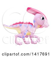 Clipart Of A Cute Pink Parasaurolophus Dinosaur Royalty Free Vector Illustration by AtStockIllustration