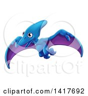 Clipart Of A Cute Flying Pterodactyl Dinosaur Royalty Free Vector Illustration