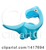 Clipart Of A Cute Blue Apatosaurus Dinosaur Royalty Free Vector Illustration