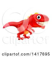 Clipart Of A Cute Red Tyrannosaurus Rex Dinosaur Royalty Free Vector Illustration