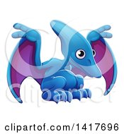 Clipart Of A Cute Blue And Purple Pterodactyl Dinosaur Royalty Free Vector Illustration