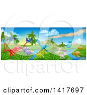 Clipart Of A Jurassic Landscape With A Volcano And Dinosaurs Royalty Free Vector Illustration by AtStockIllustration