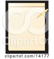 Pencil Writing On A Notepad Clipart Illustration