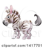 Clipart Of A Cartoon Cute African Safari Zebra Royalty Free Vector Illustration