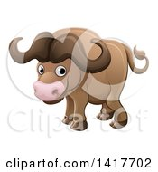 Clipart Of A Cartoon Cute African Safari Cape Buffalo Royalty Free Vector Illustration