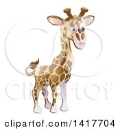 Clipart Of A Cartoon Cute African Safari Giraffe Royalty Free Vector Illustration