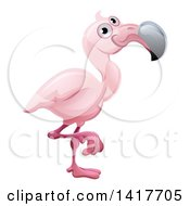 Clipart Of A Cartoon Cute African Safari Pink Flamingo Royalty Free Vector Illustration by AtStockIllustration