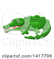 Clipart Of A Cartoon Cute African Safari Crocodile Royalty Free Vector Illustration