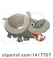 Clipart Of A Cartoon Cute African Safari Hippopotamus Royalty Free Vector Illustration