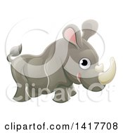 Clipart Of A Cartoon Cute African Safari Rhinoceros Royalty Free Vector Illustration
