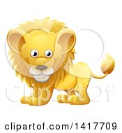 Clipart Of A Cartoon Cute African Safari Male Lion Royalty Free Vector Illustration