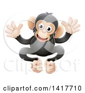 Clipart Of A Cartoon Cute African Safari Chimpanzee Royalty Free Vector Illustration