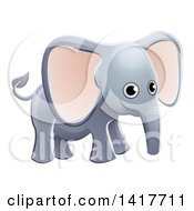 Clipart Of A Cartoon Cute African Safari Elephant Royalty Free Vector Illustration