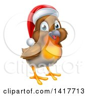 Clipart Of A Cheerful Christmas Robin In A Santa Hat Facing Right Royalty Free Vector Illustration