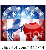 Clipart Of A Silhouetted Political Democratic Donkey Or Horse And Republican Elephant Fighting Over An American Design And Burst Royalty Free Vector Illustration by AtStockIllustration