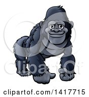 Clipart Of A Happy Black Gorilla Royalty Free Vector Illustration by AtStockIllustration