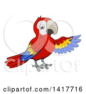 Clipart Of A Cartoon Scarlet Macaw Parrot Presenting To The Right Royalty Free Vector Illustration by AtStockIllustration